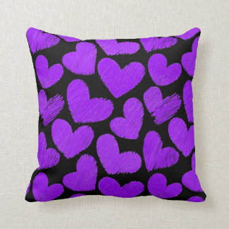 Purple and black Hearts Pillow