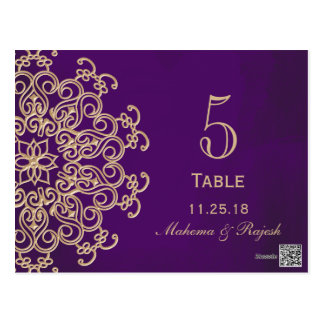PURPLE AND GOLD INDIAN WEDDING TABLE NUMBER CARD POSTCARD
