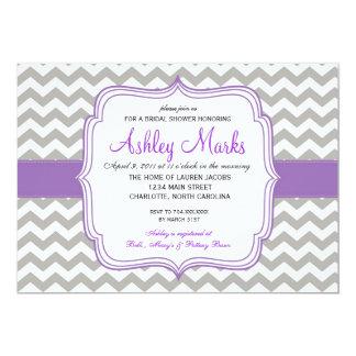 """Purple and Grey Chevron Invitaiton 5"""" X 7"""" Invitation Card"""
