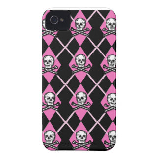 Purple & Black Argyle with Skulls BlackBerry Case