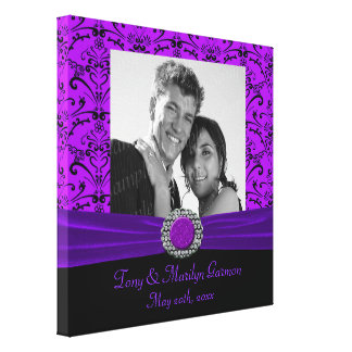 Purple & Black Baroque Jewel Add A Photo Frame Up Canvas Print