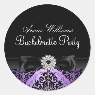 Purple & Black Damask Bachelorette Party Sticker