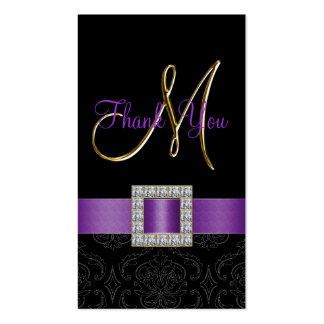 Purple, Black Damask Gold Wedding Thank You Business Card
