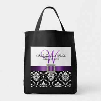Purple, Black Damask Personalized Wedding Tote Bag
