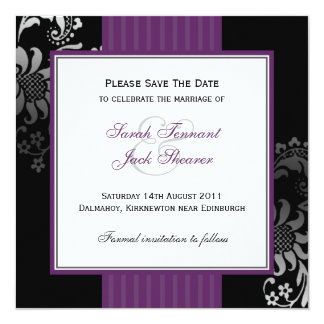 "Purple & Black Damask Wedding Save the Date 5.25"" Square Invitation Card"