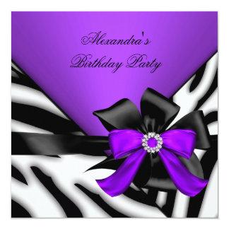 "Purple Black Zebra Stripe Bow Birthday Party 5.25"" Square Invitation Card"