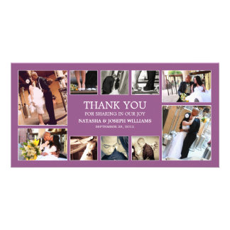 PURPLE COLLAGE   WEDDING THANK YOU CARD PHOTO CARDS