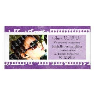 Purple Film Frame Grunge Graduation Photo Card