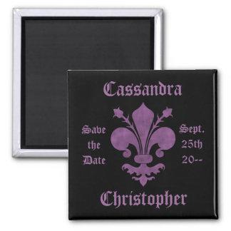 Purple fleur de lis on black save the date wedding square magnet