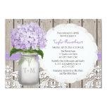 "Purple Hydrangea Monogram Mason Jar Bridal Shower 5"" X 7"" Invitation Card"