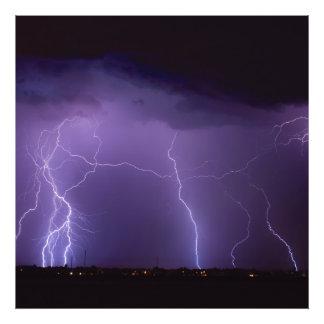 Purple Lightning in a Night Desert Thunder Storm Photograph