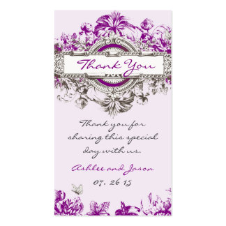 Purple Lilac Vintage Floral Wedding Thank You Tag Business Card