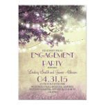 "Purple oak tree lights love birds engagement party 5"" x 7"" invitation card"