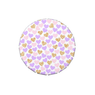 Purple, pink and gold hearts Candy Favor Tin