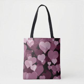 Purple Valentine Hearts All-Over-Print Tote Bag