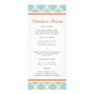 Quatrefoil Pattern Aqua & Orange Slim Dinner Menu Customized Rack Card