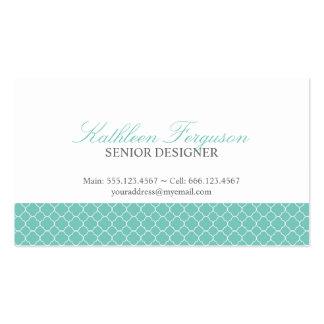 Quatrefoil teal blue clover modern pattern business card