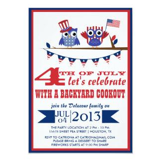 Quatrième patriotique de hiboux d'invitation de carton d'invitation  12,7 cm x 17,78 cm