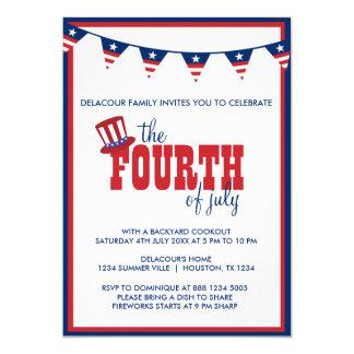 Quatrième patriotique d'invitation de bannières de carton d'invitation  12,7 cm x 17,78 cm