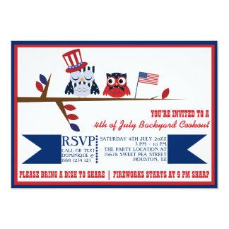 Quatrième patriotique mignon de hiboux carton d'invitation  12,7 cm x 17,78 cm