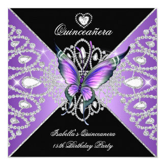 "Quinceanera 15th Butterfly Purple Black Tiara 5.25"" Square Invitation Card"