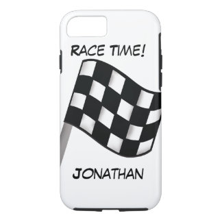 Race Black White Checkered Flag Name Personalized iPhone 7 Case