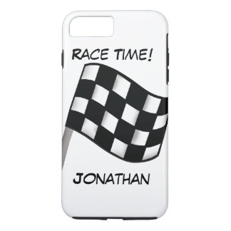 Race Black White Checkered Flag Name Personalized iPhone 7 Plus Case