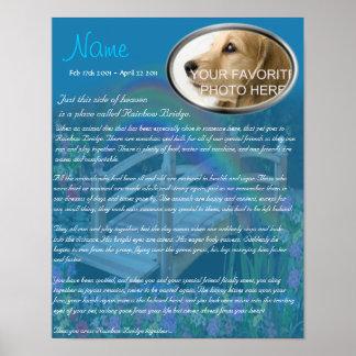 Rainbow Bridge Pet Memorial - Blue Poster