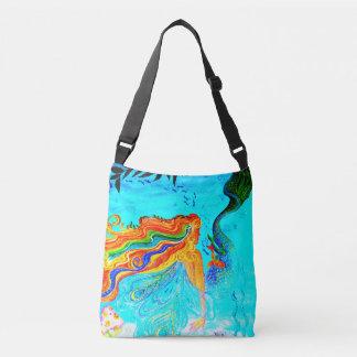 rainbow-haired mermaid blue tote bag