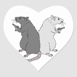 Rats with Gats Heart Sticker