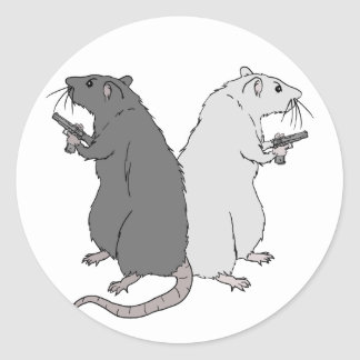 Rats with Gats Round Sticker