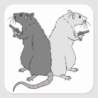 Rats with Gats Square Sticker