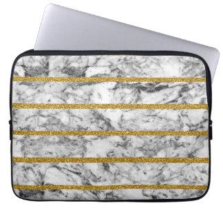 Rayures de marbre blanches noires d'effet de housse pour ordinateur portable