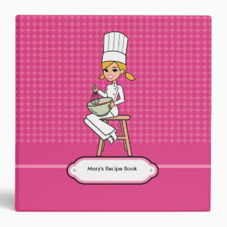 Recipe Binder with Chef Girl Illustration