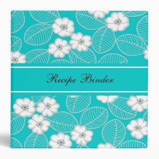Recipe Teal Blue Aqua White Damask Floral 3 Ring Binders