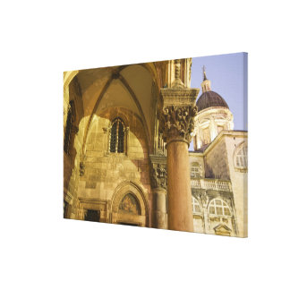Rector's Palace Arches with Dubrovnik Cathedral Gallery Wrapped Canvas