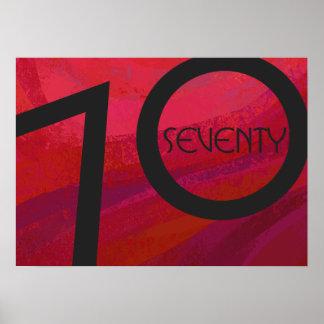 Red 70 Decade Birthday Poster