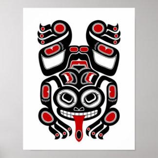 Red and Black Haida Spirit Tree Frog Poster