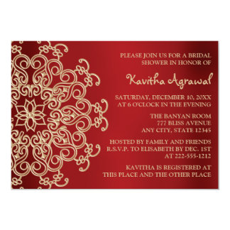 """Red and Gold Indian Inspired Bridal Shower 5"""" X 7"""" Invitation Card"""