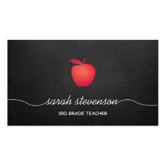 Red Apple Chalkboard Grade School Teacher Business Card