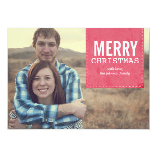 "Red Banner Merry Christmas Flat Cards 5"" X 7"" Invitation Card"