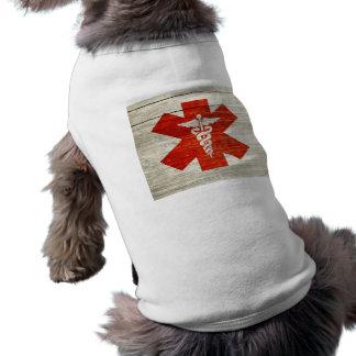 Red caduceus medical symbol doggie tee shirt
