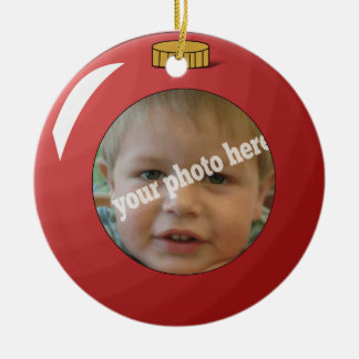 Red Christmas Ball Ornament Custom Photo Template