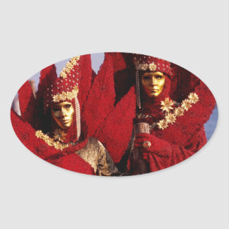 Red Costumes at the Carnival of Venice, Italy Oval Sticker