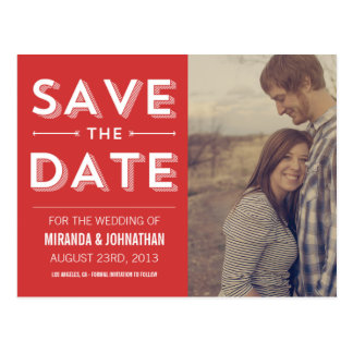 Red Design Photo Save The Date Post Cards