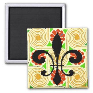 Red Flowers Abstract, Black Washout Fleur De Lis Square Magnet