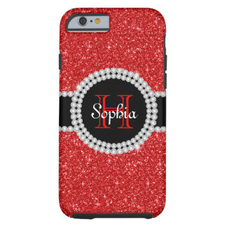 Red Glitter Monogrammed Tough iPhone 6 Case