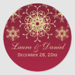 Red, Gold Glitter LOOK Snowflake Wedding Sticker