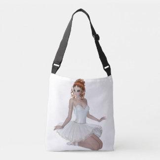 Red Hair Ballerina All-Over-Print Cross Body Bag