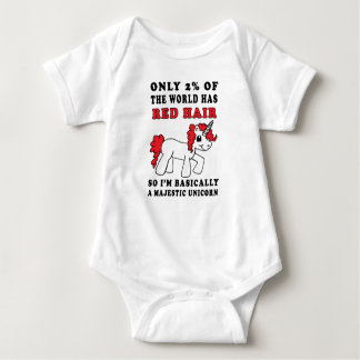 Red Hair Majestic Unicorn Baby One Piece Shirt